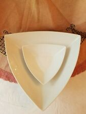 Ceramic White Triangle Chip & Dip Bowls by B. Smith with Style Serveware