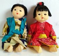VINTAGE JAPANESE hard plastic ICHIMATSU DOLLS, BOY AND GIRL.