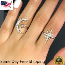 Fashion Star Moon Shaped 925 Silver Wedding Rings White Sapphire Ring US Seller