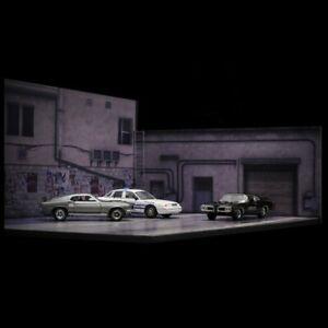 Diorama 1/64 Model Car Parking Lot Scenery Display Background Photo Car Garage