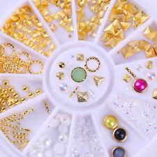Gold Rivet Nail Studs 3D Nail Art Decorations Triangle Heart White Pearl Bead