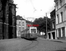 PHOTO  BELGIUM TRAMS 1959 MONS CENTRE SNCV BRAINE-LE-COMPTE TRAM  NO  10385 1947