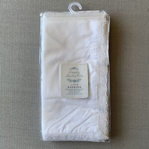 4 NWT Simply Shabby Chic Rachel Ashwell Cotton Dinner Napkins White Lace Crochet