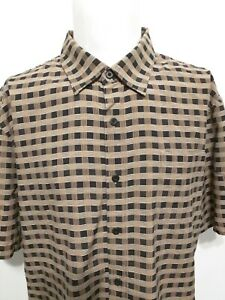Nat Nast Black Gold Striped Check Short Sleeve Shirt Mens Size XL