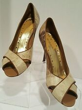 ❤️ BCBGirls ❤️ Brown and Tan Leather Snakeskin Peep Toe Pumps ❤️ Sz 6.5 M Brazil