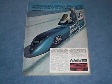 1969 Autolite Spark Plugs Vintage Ad with Mikey Thompson Streamliner Bonneville
