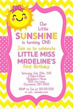 Little Miss Sunshine Birthday Party Invitation Any Colors Add Photo