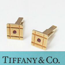 Gold Vintage Square Ruby Cufflinks Nyjewel Tiffany & Co. 14k