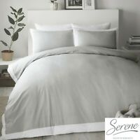 Serene MADISON Dove Grey with  White Border  Easy Care Duvet Cover Set
