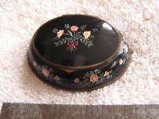 Antique Black Enamel Floral Compact
