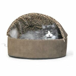 """K&H Pet Products Thermo-Kitty Bed Deluxe Hooded Large Mocha 20"""" x 20"""" x 14"""""""