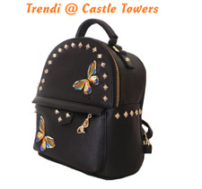 Designer Made Embroidered vintage tribal BOHO Leather Backpack Shouler Bag Black