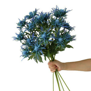 3 Fork Flowers Artificial Eryngium Plants Thistles Leaves Home Bunch Party Decor