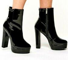 Black Patent Ankle Boots Platform High Heel Size UK 4 5 6 7 8 RRP £34.00 BNWB