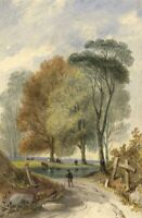 Attrib. John Henderson, Country Road – 19th-century watercolour painting