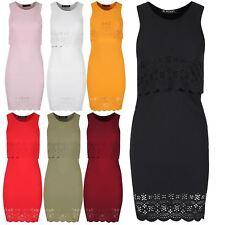 Women Cutout Double Layer Mini Dress Ladies Floral Lace Mesh Scallop Hem Bodycon