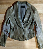 Emporio Armani Womens Lambskin Leather Jacket Blazer Khaki Olive