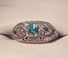 1.05 Ct. Blue Zircon w/Diamonds Sterling Silver Filigree Ring  Free Sizing