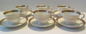 Set of 6 Cups and Saucers from Noritake Goldkin 4985 China