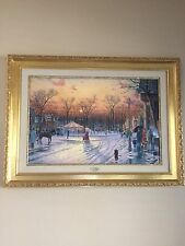 "Thomas Kinkade Authentic  Limited Edition Lithograph canvas "" Town Square"""
