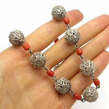 """Antique 925 Sterling Silver Handcrafted Natural Coral Gemstone Rare Necklace 18"""""""