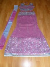 Belle Rose & Turquoise broderie indienne lehenga tenue-Taille 8