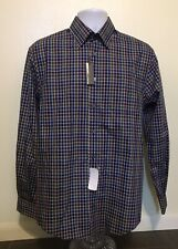 Damon Dress Shirt Men Size Medium Blue Purple Green Button Up Long Sleeve