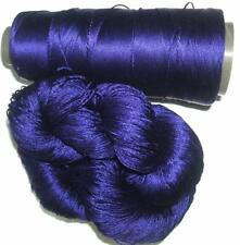 100% Reeled Mulberry Silk Cobweb Lace Yarn Skein Royal Blue Purple 022 Lot F