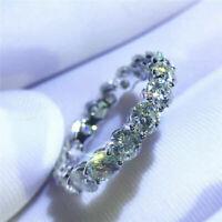 14K White Gold Finish 2.11 Ct Round Moissanite Engagement Eternity Band Ring