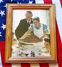 Framed Painting / Print by NORMAN ROCKWELL. Freedom from want, Thanksgiving 1943