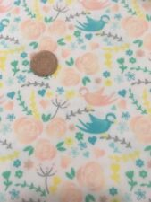 Floral Roses Birds Wildlife White 100% Craft Cotton Company Quilting Fabric