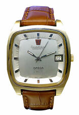 Vergoldete Armbanduhren aus echtem Leder mit Datumsanzeige für Herren