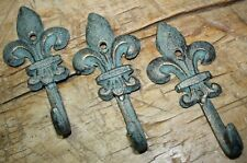 3 Cast Iron Antique Style Rustic Fleur De Lis Coat Hooks Hat Hook Rack Towel #6