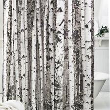 Shower Curtain Fabric Waterproof Bathroom Tree Design Polyester 12 Hooks