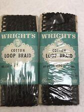 Vintage Wright'S Cotton Loop Braid Seal Brown - Nos - Two Pkgs