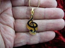 (M-331-D) G TREBLE CLEF MUSIC NOTE Jewelry Pendant NECKLACE Pick 1 of 3 colors