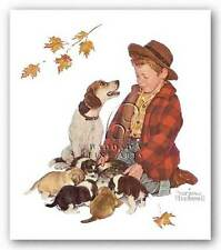 DOG ART PRINT Pride of Parenthood Norman Rockwell 8.5x9