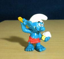 Smurfs Sauna Bathing Smurf Soap Brush Towel Figure Vintage Toy Figurine HK 20108