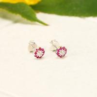 Natürliche Rubin&Diamant Ohrringe 925 Sterling Silber Natur Edelstein Ohrstecker