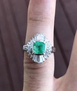 Wow Platinum Natural Emerald & Diamond Ring 2.42ctw 7.7g