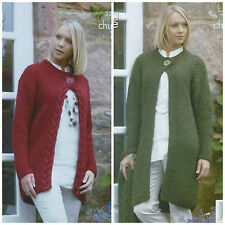 KNITTING PATTERN Ladies Moss Stitch Cable Cardigan & Coat Chunky King Cole 3263