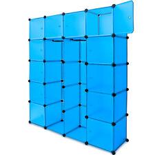Étagères Armoire Rangement Plastique 20 Casiers 2 Tringles Système Clip - Bleu