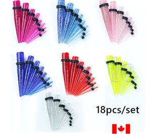 18PCS Ear Gauges Stretching Set Glitter Acrylic Tapers Plugs flesh Tunnels punk