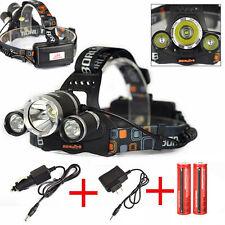 Super Bright Rechargeable 15000Lm 3*XM-L L2+2T6 LED Headlamp+18650+AC&CAR Charge