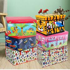 KIDS CHILDREN LARGE STORAGE BOX BOYS GIRLS FOLDABLE SEAT W/LID CHEST ORGANIZER