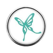 Candy Snap Charm Gd1358 Blue Butterfly- 18Mm Glass Dome