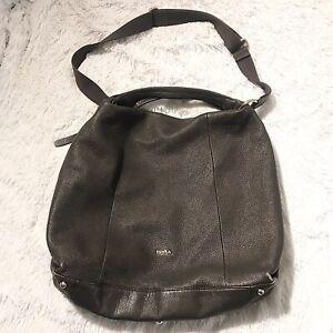 FURLA Brown Leather Elisabeth Hobo Shoulder Carryall Side Zipper Zip Purse Bag