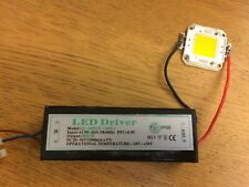 50W WARM WHITE LED COB Chip Bulb / LED Driver Supply High Power (USED WORKING)