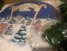 Cherished teddies Santas Workshop Display with Background and Two Trees Crt076