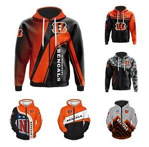 Cincinnati Bengals Hoodie Football Zippered Sweatshirt Casual Jacket Fans Gift